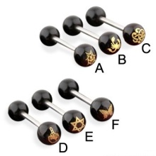 Laser Cut Logo Anodized Balls Staright Barbell