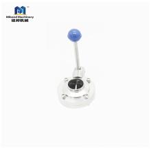 China Ventil Lieferant Sanitär Edelstahl 304 / 316L Absperrklappenhebel-Ventil
