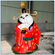 Outdoor Life Size Fiberglass Cartoon  Panda Sculpture