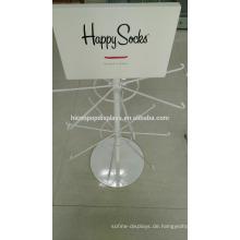White Powder Coated Floorstanding 2-Layer 16 Metall Haken Custom Marke Einzelhandel Happy Sock Display