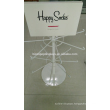 White Powder Coated Floorstanding 2-Layer 16 Metal Hooks Custom Brand Retail Happy Sock Display