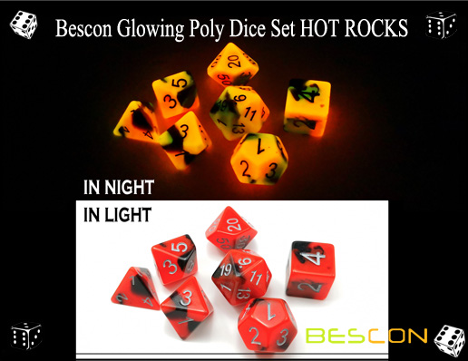 Bescon Glowing Poly Dice Set HOT ROCKS-4