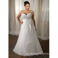 A-line Sweetheart Sweep Train Lace Satin Ribbon Plus Size Wedding Dress