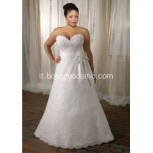 A-line Sweetheart Sweep Train Lace Satin Ribbon Plus Size Abito da sposa