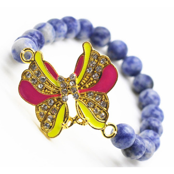 Sodalite Gemstone Bracelet with Diamante alloy Butterfly Piece