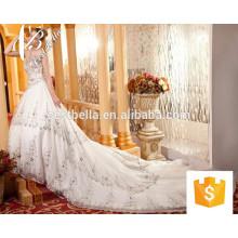China Vestido de noiva mais recente Beaded Pearls Applique Bridal Dress 2017 Shining Bling Bling Off Shoulder Luxuoso vestido de noiva