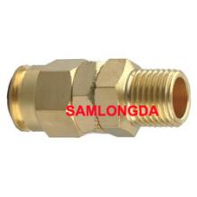 NPT Acoplamiento giratorio, Acoplamiento del tubo de la PU, Acoplamiento de cobre amarillo, Tubo de la PU