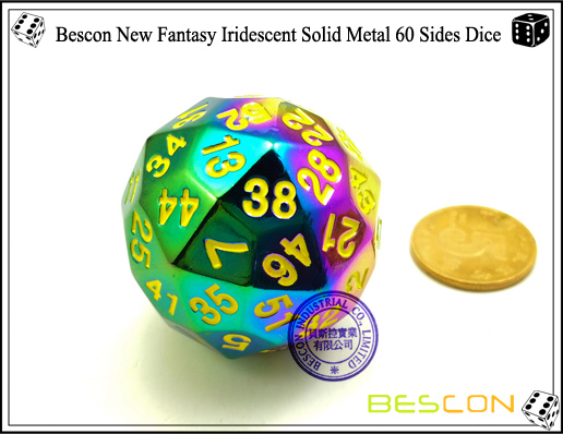 Bescon New Fantasy Iridescent Solid Metal 60 Sides Dice-1