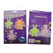 Arte de papel para niños, diseño de ET arte de arañazo para niños, arte de scratch