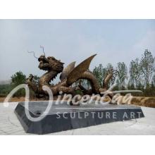 Escultura de dragão de bronze de alta qualidade escultura de dragão chinês