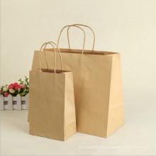 Saco de papel Kraft de saco de papel de compras de presente de promoção