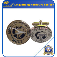 Epoxy Coating Silver Metal Cufflinks