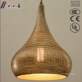 Round Metal and Golden Hollow Pendant Light with Dining Room