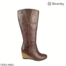 over knee wedge heel fur winter boots