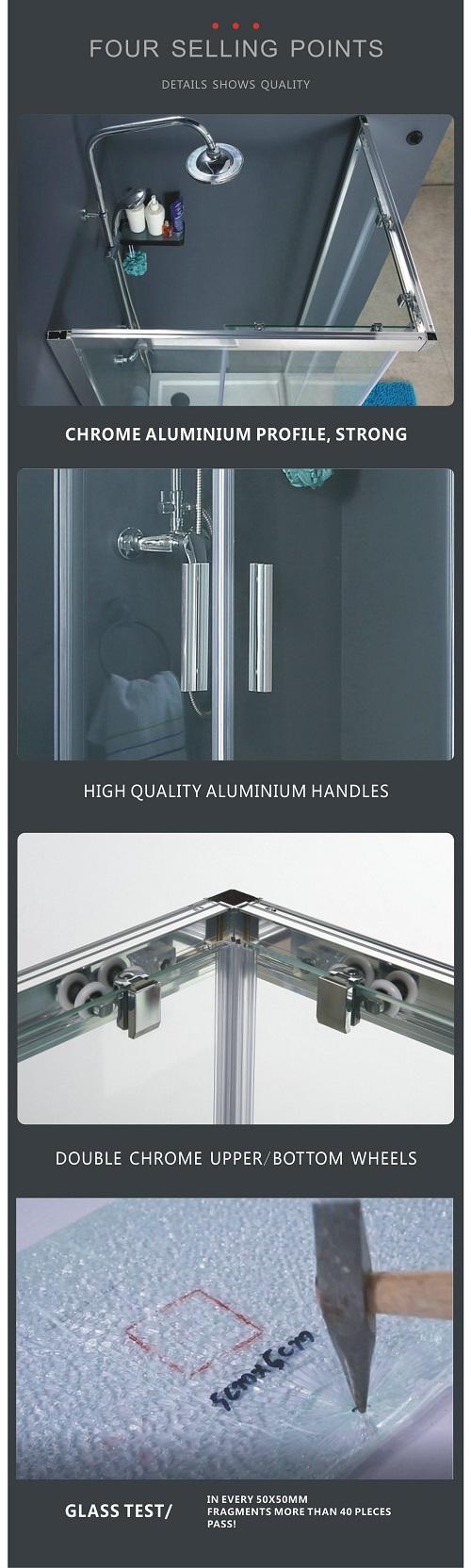 Chrome aluminium bath Shower enclosure with 6 mm tepmered glass