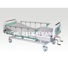 Patient Bett, bewegliches Doppel-Funktions-Handbuch Krankenhaus-Bett mit ABS Bett-Kopf (A-68)