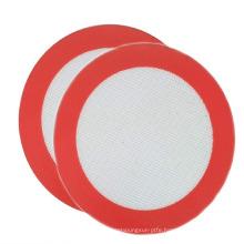 round shape washable customized logo silicone grill mat