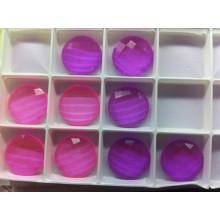 Прозрачный розовый и фиолетовый плоской задней Unfoiled камней бусины