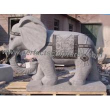 Tallando la escultura de mármol del animal del elefante de mármol para la estatua del jardín (SY-B106)