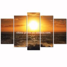 Arte de la pared de la lona de la puesta del sol del mar / imagen de la lona de la onda de océano para la lona enmarcada de la pared /