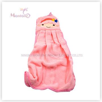 Cuisine de cadeau de promotion en gros accrochant la belle serviette de main de tissu de flanelle