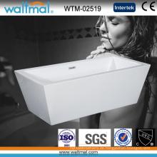 Einfache Acryl Rechteck freistehende Einweichen Badewanne mit schlanken Überlauf (WTM-02519)