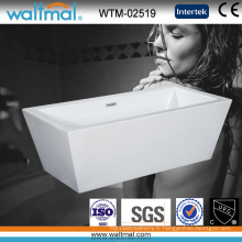 Baignoire autoportante simple de rectangle acrylique avec débordement mince (WTM-02519)