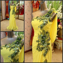 Real Picture 2016 Custom Made One Shoulder Appliques Alibaba New Model Evening Dress DE300