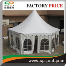 2014 Fancy 6m white waterproof hexagon party tent in strong Aluminum frame for garden party