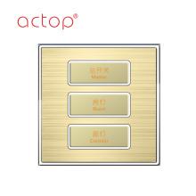 Interruptores de hotel inteligentes con diferentes materiales.
