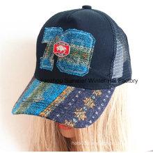 Raw Edge Applique Embroidery Genuine Leather Strap Baseball Cap