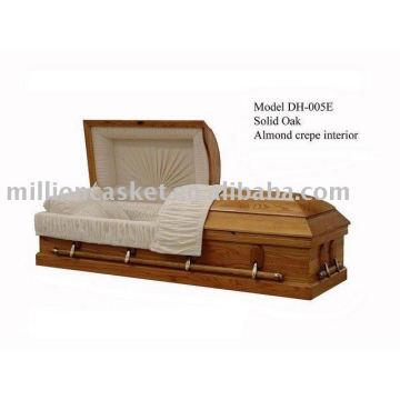solid oak casket with no design corner