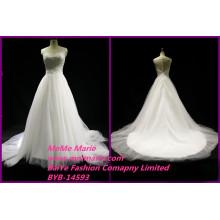 Spanische Spitze-Hochzeits-Kleider Schaufel-Brautkleid-Fußboden-Längen-Damen-Kleid