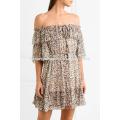 Разноцветные off-плечу с коротким рукавом печатных шелковое мини-летнее платье Производство Оптовая продажа женской одежды (TA0007D)