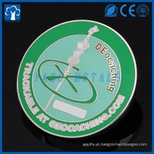 Custom metal chellenge hicking lembrança moeda geocache