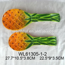Ceramic spoon rest with pineapple design dolomite spoon rest for tableware