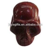 Piedra natural tallada cráneo Jaspe Rojo