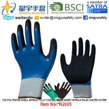 13G Polyester Shell Nitrile Fully Coated Inner, Sandy Nitrile Palm Coated Outer Gloves (N2005) with CE, En388, En420, Work Gloves