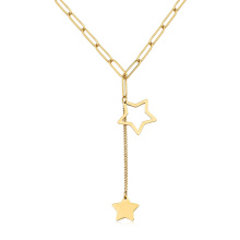 Simple Big Chain Drop Star Pendant Double North Star Necklace Custom Jewelry