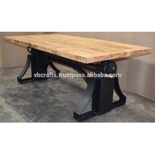 Industrial Crank Table Metal Rivets Black Color Mango Madeira Topo