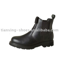 Black Steel Toe Sided Elastic Boot