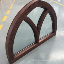 Подгонянная специальная форма конструирует оконную раму древесины дуба дуги верхней части с резным стеклом