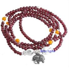 Natural Garnet Beads Bracelet with Silver Charm (BRG0023)