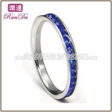 Ventas al por mayor el zircon del acero inoxidable nuevo diseño señala el anillo de bodas elegante del dedo