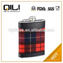6oz colores cuero envuelto scotsland whisky acero inoxidable metal frasco de la cadera