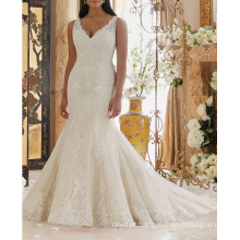 Alibaba Sexy Appliqued Trompete Long Train Africa Wedding Dress