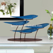 New arrival home ornament wholesale lucky blue polyresin fish with metal frame decorate your home