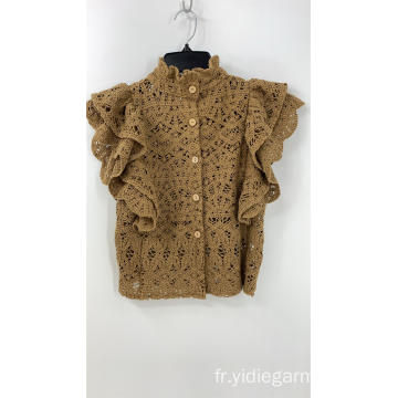 Crop top en dentelle au crochet de couleur marron clair