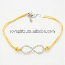 Amarelo fio diamante número oito liga pulseira tecida
