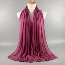 Fashionable solid color plain hijab scarf with rhinestone muslim hijab for sale